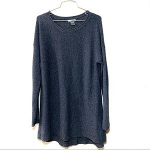 Premise Cashmere Crew Neck High Low Hem Sweater